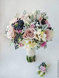 Необычный букет невесты в сиренево-серых тонах. - букет невесты,свадебный букет
