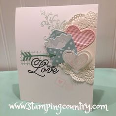 Love Notes Sealed With Love, Valentine, Stampin' Up! stamp flourishes under doily Valentine Love Cards, Valentine Crafts, Valentine Nails, Valentine Ideas, Making Greeting Cards, Stamping Up Cards, Mothers Day Cards, Anniversary Cards, Homemade Cards