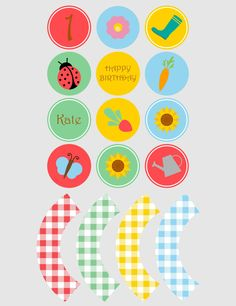 Printable cupcake toppers | Printable cupcake wrappers | Printable Party Circles | Spring Party | Girl Party |Customised Download PDF by JJPrintables on Etsy