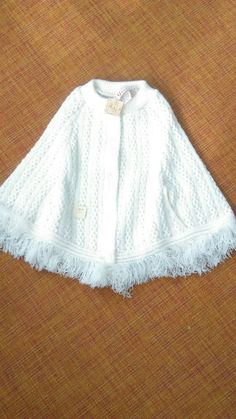 Girls Size 2T-4T Grand Knit Wear White Poncho / NOS /Made in USA/ Vintage Cape / Kid's Vintage Fringe Poncho /Girls Vintage Clothing by JulesCristenVintage on Etsy