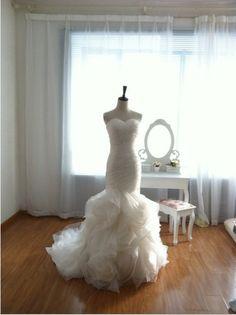 Vera Wang Inspired Organza Mermaid Wedding Dress Strapless Sweetheart Ruffle Ball Gown Skirt. $450.00, via Etsy.