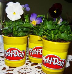 Great way to reuse items from the classroom to reinforce recycling and AND plants!