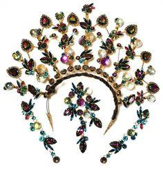 David Mandel The Show Must Go on Huge Bridal Tiara Brooch Earrings Parure Set | eBay