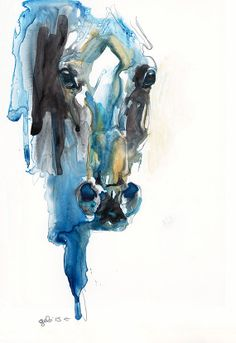 Equine Nude 60 - Ballpoint Pen and watercolor Horse Painting on Etsy, $210.14 CAD
