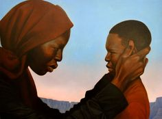 "original oil ""Brace Yourself Boy"" from Nelson Mandela, words and paintings by Kadir Nelson. SOLD 