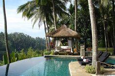 Palm trees and zero edge pool, heavenly.