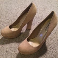 Brand new suede nude chunky heel size 11 These are brand new and never worn heels. Size 11. Breckelles Shoes