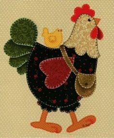 Apliquê, a galinha vai as compras com seu pintinho