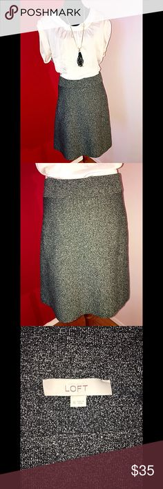 """Gray speckled stretch skirt Brand new! Gray speckled Ann Taylor Loft skirt (resembles a tweed pattern) thick knit stretch material.  Perfect for work or play! Length: 20"""" Nylon/Spandex. Ann Taylor Skirts"""