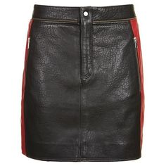 TopShop Leather Colourblock Biker Skirt (€25) ❤ liked on Polyvore featuring skirts, topshop, red and black skirt, leather zipper skirt, block print skirts, leather skirt and zipper skirt
