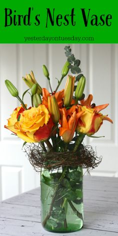 Bird's Nest Mason Jar Vase, great for Teacher Appreciation, May Day and Mother's Day