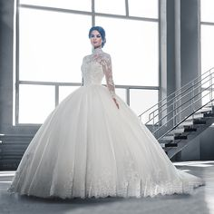W3058 robe de mariage High Neck Long Sleeves Puffy Lace Ball Gown Wedding Dress 2016 IIIusion Botton Back Princess Wedding Dress