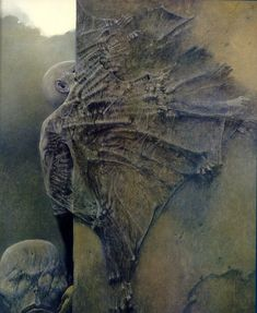 """revereche:"""" jadeitor:"""" Dark Art by Zdzislaw Beksinski, one of my last favourites artist. He's inspiring me so much because some days ago I found a box with very old and disturbing draws of my childhood related with nightmares and bad experiences. Arte Horror, Horror Art, Dark Fantasy Art, Dark Art, Post Apocalyptic Art, Creepy Art, Scary, Creepy Images, Fantastic Art"""