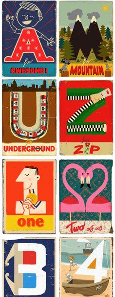 Paul Thurlby's vintage alphabet cards.