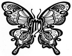 Black Virgo Zodiac Sign With Butterfly Wings Tattoo Design Twin Tattoos, Body Art Tattoos, Small Tattoos, Sleeve Tattoos, Cool Tattoos, Tatoos, Awesome Tattoos, Arm Tattoos, Sexy Tattoos