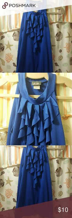 DOTS royal blue sleeveless top This top is in royal blue in size small. It is sleeveless and has ruffles for details. It is 70% polyester, 27% rayon, and 3% spandex. It is gently used. Dots Tops Blouses
