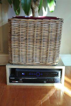 Using Ikea baskets to hide appliances