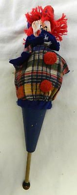 Vintage Pop Up Wood Stick Cone Clown Toy Doll | eBay