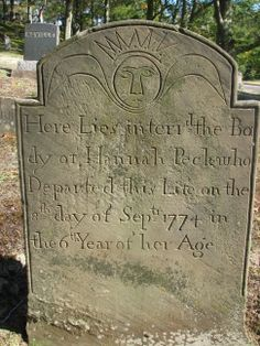 Here Lies interr'd the Bo-dy of Hannah Peck who Departed this Life on the 8th day of sep'tr 1774 in the 6th Year of her Age.