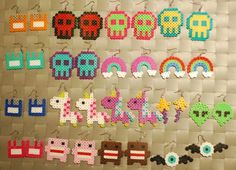 Adorable Perler Earrings with your favorite Cute Characters and Items! This listing is for 1 PAIR of the earrings shown or 1 keychain of the Más Perler Bead Designs, Hama Beads Design, Diy Perler Beads, Perler Bead Art, Pearler Beads, Hama Beads Kawaii, Melty Bead Patterns, Pearler Bead Patterns, Perler Patterns