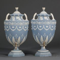 Pair Of Wedgwood Solid Blue Jasper Tea Urns And Covers.  Awwwwwesome!!!!