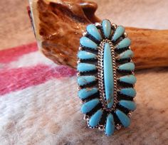 Turquoise ring, size 7, ring, long, sterling, Navajo Jewelry, southwest jewelry, Texas, New Mexico, womens jewelry, estate jewelry, pow wow by CherokeeKachinaCasey on Etsy