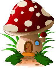 mushroom house vector art illustration
