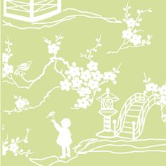 Find green Pagoda Toile Fabric, Childrens Fabrics, Girl Fabrics at the Warm Biscuit Bedding Company