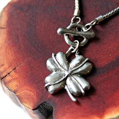 four leaf clover necklace silver toggle front on Etsy, $268.00