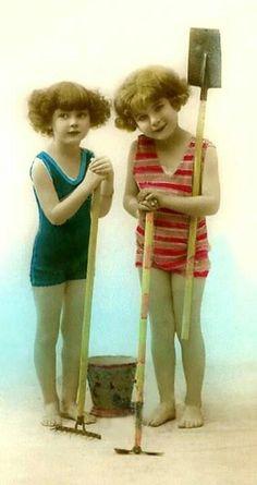Vintage children at the beach