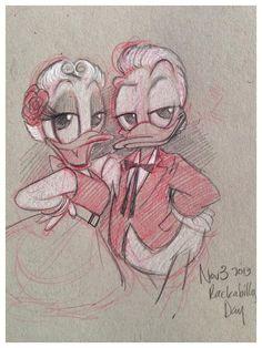 Rockabilly Donald & Daisy sketch by Amy Mebberson