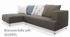 BLOSSOM Sectional Sofa-LEFT. Amazing modern cream/grey 2 seater sectional Sofa is great addition to any living room. Both rotation is available. Features: Two Piece Sectional Chrome Leg Finish. Contemporary Style High Grade Upholstery Fabric. High Density. Upholstered In Light Grey Fabric. Pillows included.
