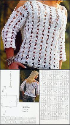 Brick Stitch Patterns, Crochet Stitches Patterns, Crochet Chart, Thread Crochet, Free Crochet, Knitting Patterns, Crochet Cardigan Pattern, Crochet Blouse, Crochet Fashion