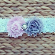 Baby Headband... Baby Girl Headbands... Gray Pink Vintage Shabby Chic Flower on Lace Headband... Baby FlowerHeadband... Newborn Headband