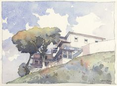 Watercolor sketch by Victor Beltran. Hostal in Ouro Preto.
