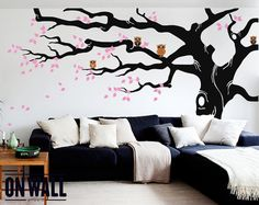 Large Tree Wall Decals Trees Decal Nursery Tree Wall Decals, Tree Mural  With Owls On Branches, Vinyl Wall Decal   MM006