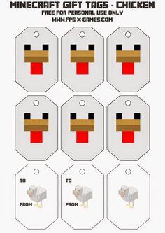 Printable Minecraft chicken gift tag.