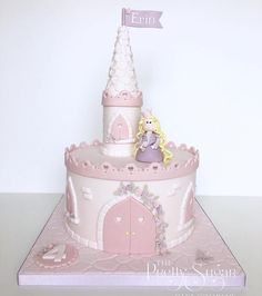 Pink princess castle birthday cake