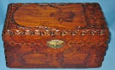 Austria pyrography | ANTIQUE FOLK ART BURNTWOOD PYROGRAPHY CHESS BOX HINGED LID HAND CARVED