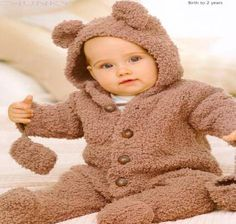 Knitted babies teddy all in one
