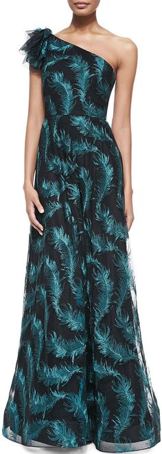 Kay Unger New York One-Shoulder Gown W/ Embroidered Feathers