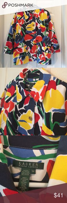 Ralph Lauren Vibrant Floral Swing Jacket I love the colors in this jacket! This is a swing style jacket with an A-line shape. It has four gold tone buttons down the front to close it and two front slip pockets. This jacket is 100% cotton , fully lined, and is machine washable! This is in great pre-loved condition with no signs of wash wear. Lauren Ralph Lauren Jackets & Coats