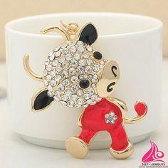 Cute Enamel Bull Fashion Rhinestone Animal Metal keychain Thailand