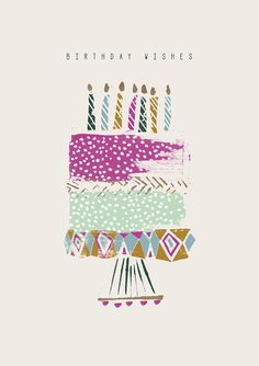 'Whimsical cake' - Birthday card template you can print or send online as eCard for free. Happy Birthday Messages, Happy Birthday Images, Happy Birthday Greetings, First Birthday Photos Girl, Happy Birthday Illustration, Happy Birthday Flower, Diy Birthday, Happy Birthday Wallpaper, Birthday Card Template