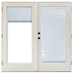 MasterPiece 71-1/4 in. x 79-1/2 in. Fiberglass White Right-Hand Outswing Hinged Patio Door with Blinds Between Glass, Smooth White Interior And Exterior