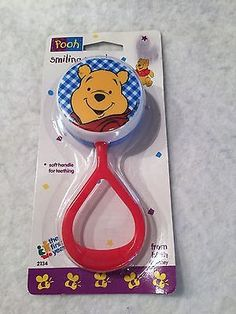 Vintage Disney Winnie The Pooh Baby Rattle Smiling First Years 1995 2134