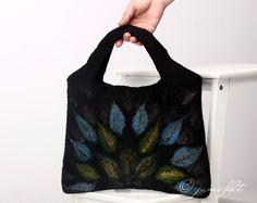 SALE - Felted Wool Handbag - Mystery flames - Blue Green Black. $89.00, via Etsy.