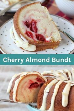 This dense, buttery Cherry Almond Bundt Cake is a traditional pound cake filled with cherry pie filling and topped with a cream cheese glaze. Perfect for brunch or dessert, your friends will be so impressed! Cherry And Almond Cake, Cherry Cake, Almond Cakes, Cherry Bundt Cake Recipe, Cherry Bread, Just Desserts, Delicious Desserts, Dessert Recipes, Awesome Desserts