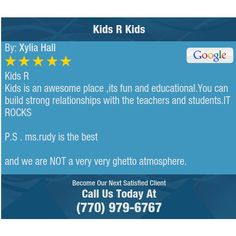 Kids R Kids is an awesome place ,its fun and educational.You can build strong...