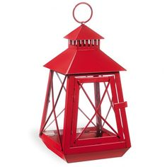 $13 Lanterna rossa in metallo e vetro